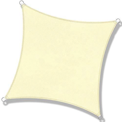 DEXIAO Tenda a Vela Quadrata Vela ombreggiante Impermeabile Tenda a Vela Parasole Protezione UV per Terrazza Campeggio Giardino Esterno(3 x 3 m, colore burro)