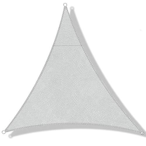 DEXIAO Tenda a Vela Triangolo Vela ombreggiante Impermeabile Tenda a Vela Parasole Protezione UV per Terrazza Campeggio Giardino Esterno(5 × 5 × 5 m, grigio chiaro)