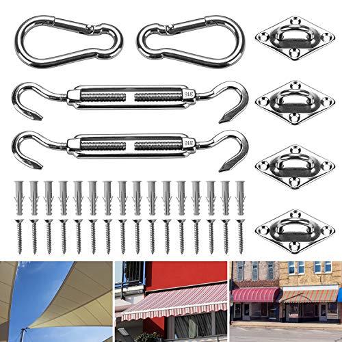 FORMIZON Kit di Fissaggio per Vela Parasole - 24 Pezzi Kit di Fissaggio in Acciaio Inox Kit di Montaggio per Tende a Vela Accessori Acciaio Inossidabile per Tende a Vela Quadrate/Rettangolari
