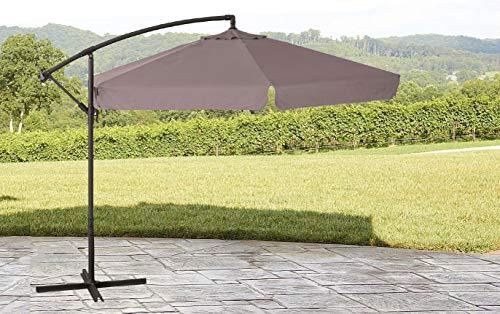 GARDENIA Ombrellone da Giardino 4x4 a Palo Decentrato, in Alluminio Struttura Marrone Telo Ecrù
