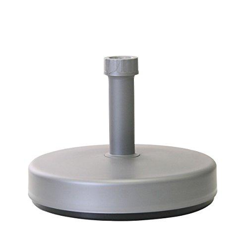 greemotion Base Rotonda per ombrelloni, Supporto ombrelloni in plastica, da riempire con Acqua/Sabbia, 20 l, Argento