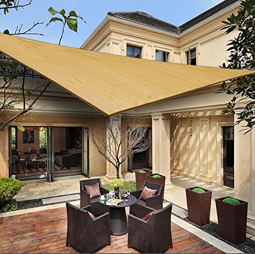 HENG FENG Vela Ombreggiante Tenda a Vela Triangolare HDPE 5 x 5 x 7 M Traspirante e Protezione Solare Anti UV per Esterni Giardino Verande Colore Sabbia