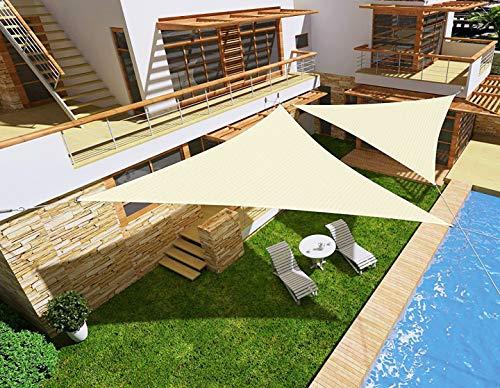HENG FENG Vela Ombreggiante Tenda a Vela Triangolare PES 5 x 5 x 5 M Impermeabile Protezione Raggi UV per Esterni Giardino Verande Colore Beige