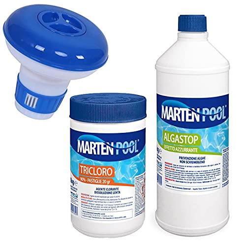 Kit Manutenzione per Piscine Stagionale = Antialga, Pastiglie Multiazione, Dosatore. Trattamento Acqua Piscina