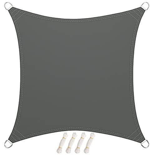 LARMNEE PES 3 x 3 m Tenda Parasole, Vela Ombreggiante, da Sole Blocco di 93% UV, Resistente all'Acqua Fino ad Almeno 1000 mm Protezione Occhielli Metallici, per Giardino, Grigio Fumo EGY33SP02