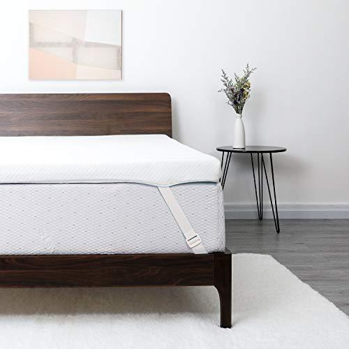 Lauraland Topper Matrimoniale 120 x 190 cm, 2 in 1 Topper Memory Foam Matrimoniale 6 cm di spessore, Soft Comfort Topper Materasso con copertura in bambù lavabile