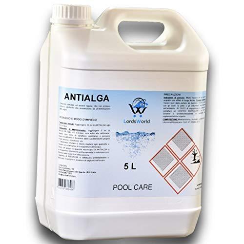 LordsWorld Pool Care - 5Lt Antialga Liquido No Schiuma Algicide - Stop Alghe - Evita La Formazione delle Alghe in Acqua Piscina - Trattamento E Mantenimento dell'Acqua - ANTIALGA-5LT