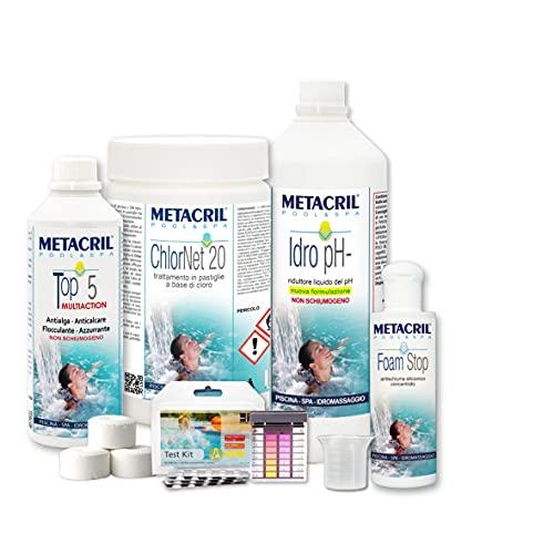 Metacril Easy Kit Cloro per Idromassaggi e Piscine. Trattamento Completo a Base di Cloro in pastiglie da 20gr. Spedizione IMMEDIATA
