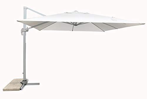 MICHELE SOGARI Ombrellone da Giardino 3X3 Bianco Base Decentrata Alluminio 3 X 3 Telo Poliestere e Rotazione 360 gr - Total White