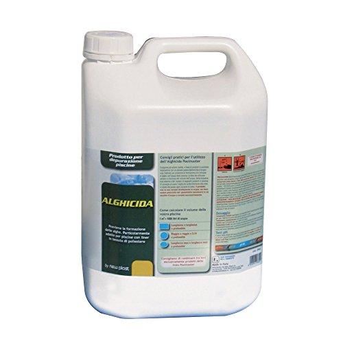 New Plast 2960 Alghicida Doppia Funzione per Acqua Piscina, Tanica 5 lt, 37.5x28x30 cm