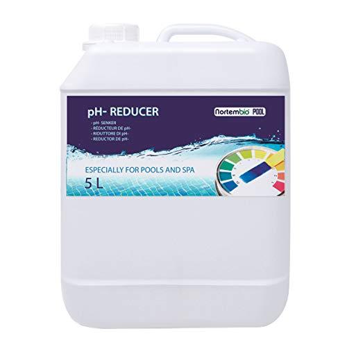 Nortembio Pool PH- Minus 5 L, Riduttore Naturale di PH per Piscina e Spa. Migliora la qualità dell'Acqua, Regolatore di PH, Vantaggioso per la Salute. Prodotto CE.