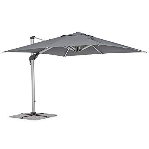 Ombrellone da giardino 4x4 modello RIMINI con braccio laterale, telo da 250gr e rotazione palo 360 gradi, ombrellone con palo in alluminio