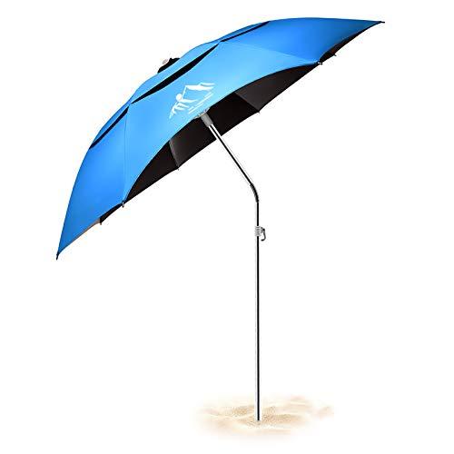 Ombrellone da Sole/Pesca/Spiaggia, Anti-UV, Antivento/Impermeabile/Portatile, Asta Regolabile per L'ancoraggio/Sabbia Ombrello Robusto per Cortile/Patio/Parco/Shadezilla/Giardino