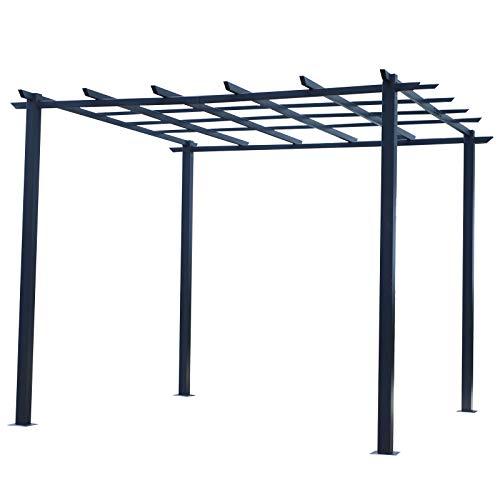 Outsunny Pergola Pergola da Giardino Decorabile Rampicanti Palloncini in Ferro 300 x 300 x 230 cm Nero
