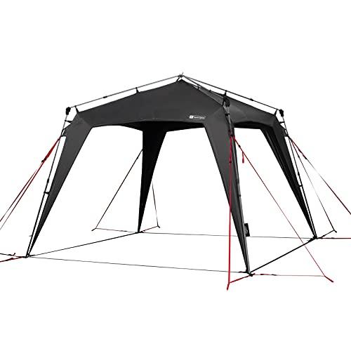 Qeedo Quick Space Camping Pavillon (3x3m) con protezione dai raggi UV (UV80) & Dark-Coating - antivento, montaggio rapido, 8 persone - grigio