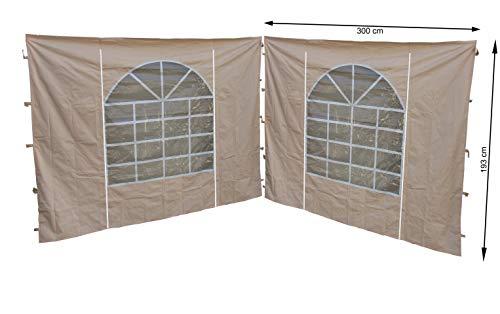 Quick-Star 2 pareti Laterali con Finestra in PVC 300 x 195 cm per Gazebo Sahara 3 x 3 m Parete Laterale Sabbia