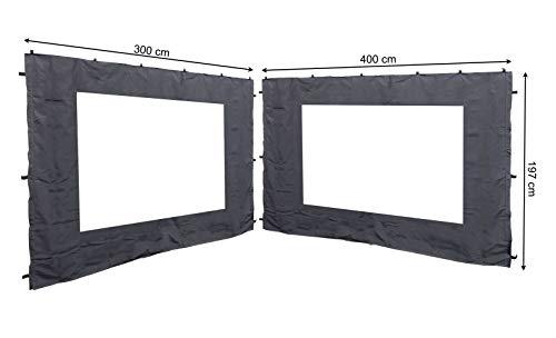 Quick-Star 2 pareti Laterali con Finestra in PVC per Gazebo 3 x 4 m Parete Laterale Antracite