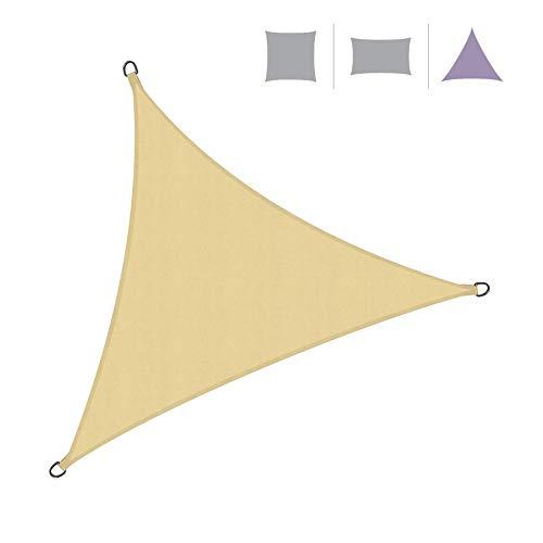 Rebecca Mobili Tenda A Vela Triangolare Telo Parasole Beige con Corde Polietilene Protezione Raggi Solari 3x3x3 mt (cod. RE6339)