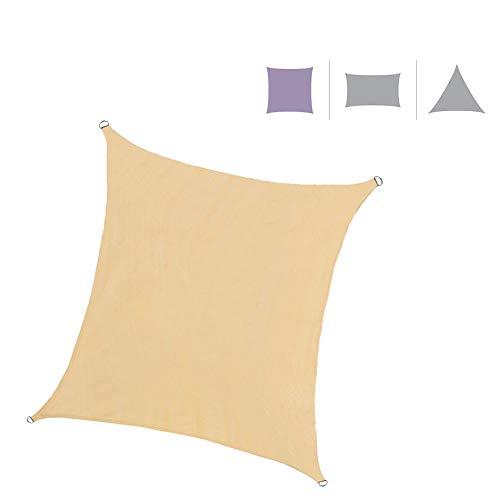 Rebecca Mobili Vela Ombreggiante Tenda da Esterno Quadrata Beige Outdoor Protezione UV con Corde Piscina Barca Giardino 5x5 mt (cod. RE6338)