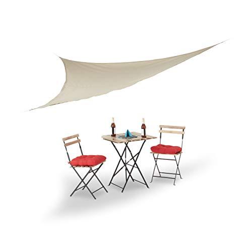Relaxdays Vela Ombreggiante, Parasole Triangolare, Corde per Fissaggio, per Giardino, Terrazza, 3.5 x 3.5 x 3.5 m, Beige,