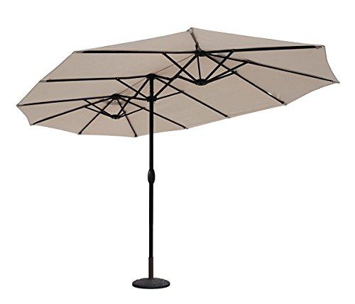 Sekey® Ombrello con Doppio Top in Ombrello Parasole da Esterno da Giardino Ø 460 cm x 270 cm Protezione Solare UV50+ Taupe