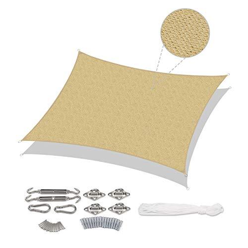 Sekey Tenda a Vela Parasole Rettangolare Traspirante Permeabile in HDPE, Protezione Antivento con Protezione UV per Giardino Terrazza Campeggio Patio Party, con Corda e Kit di Fissaggio, Sabbia 3×5m