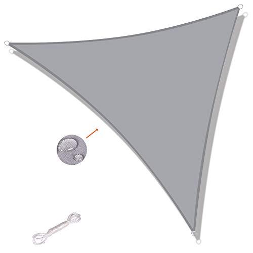 SUNNY GUARD Tenda a Vela Triangolare 3x3x3m Antivento Impermeabile Protezione Raggi UV per Giardino terrazza Campeggio, Grigio
