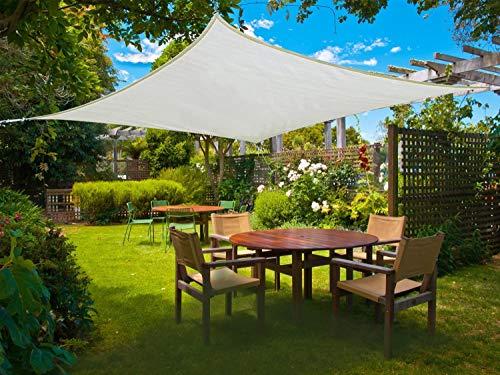 Sunnylaxx Tenda a Vela Rettangolare 2.5 x 4 Metri, Vela Ombreggiante Resistente e Traspirante per Giardino, Balcone & Terrazza, Colore Crema