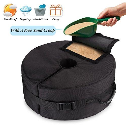 Tee-Moo - Borsa per pesi con base per ombrello, rotonda, rimovibile, 45,7 cm, con grande apertura e 2 maniglie per patio, spiaggia, esterni, a sbalzo o pala, resistente, facile da installare