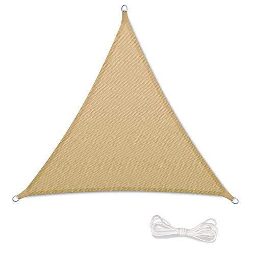Tenda a Vela Parasole Ombrelloni da Giardino Impermeabile Protezione Antivento con UV Protezione per Terrazza, Campeggio, Cortile, con Corda Libera (2x2x2m, Sand)