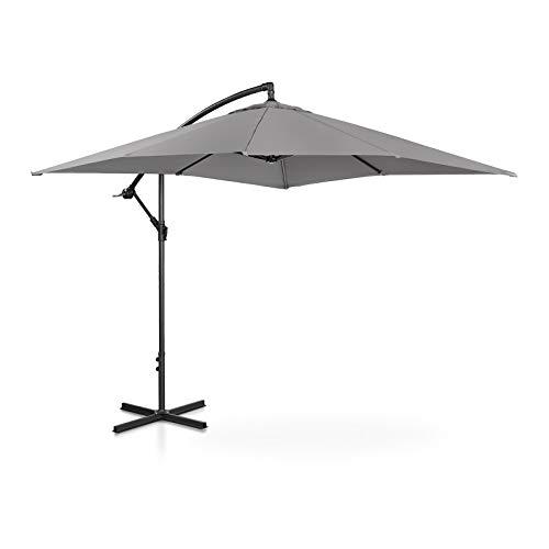 Uniprodo Ombrellone da Esterno Ombrello da Giardino Uni_Umbrella_SQ250DG (Grigio Scuro, Quadrato, 250 x 250 cm, 180 g/m2, Inclinabile)