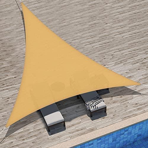 Velway Tenda a Vela Ombreggiante Triangolare 3x3x3m, Telo Parasole Tenda da Sole Esterno in Oxford 300D Anti-UV e Antipioggia, Tendalino per Giardino Barca Balcone Terrazza Campeggio, Biege