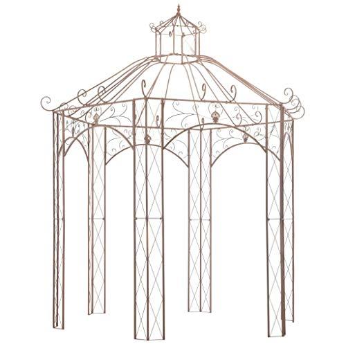vidaXL Padiglione da Giardino Stabile per Piante Rampicanti Stile Vintage Design ad Arco Resistente Gazebo Chiosco Tendone Marrone Anticato in Ferro
