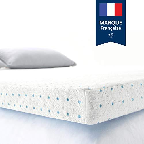 ViscoSoft - Topper 90 x 200 cm, gel su materasso in schiuma memory, altezza 5 cm, effetto rilassante, rivestimento in bambù lavabile e rimovibile, comfort medio per materassi, reti 90 x 200 cm