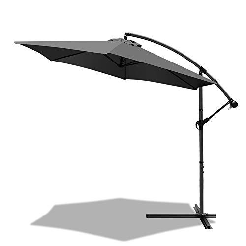 VOUNOT Ombrellone da Giardino, Diametro 3M, Ombrellone Decentrato Parasole, con Base a Croce, Protezione UV, Grigio