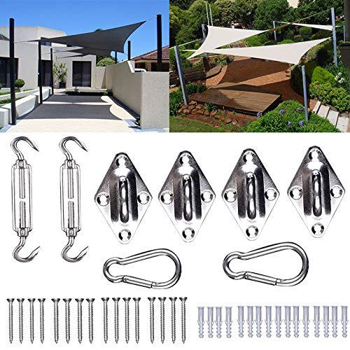 WOLTU GZS1221 Kit di Fissaggio per Tende a Vela Accessori di Montaggio in Acciaio Inox