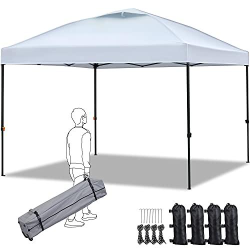 Yaheetech Gazebo da Giardino 3 x 3 M Richiudibile Impermeabile Altezza Regolabile Tendone da Sole Ombreggiante da Terrazzo Esterno da Campeggio/Picnic Bianco