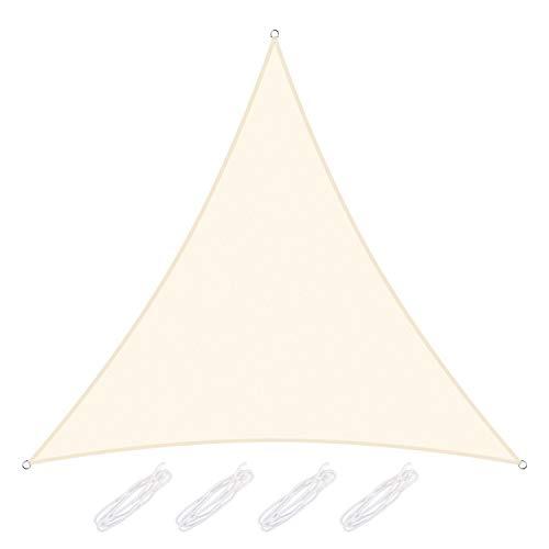 Yodeace Vela ombreggiante Triangolare, Panno in Poliestere Baldacchino Pieghevole Impermeabile ad Alta densità per Patio Esterno parcheggio Cortile Giardino Beige 3 x 3 x 3 m Metri