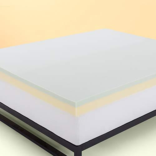 Zinus 7,6 cm Topper per materasso in memory foam (2.5 cm) al tè verde / Schiuma certificata CertiPUR-US/ Topper in a box/ 160 x 190 cm
